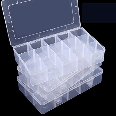 Amazon Com Sghuo 3 Pack 15 Large Compartments Clear Plastic Organizer Box With Dividers For Washi Tape Jewelry And Tackle Storage