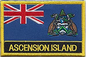 Bandera bordada remiendo Rectangular Islas Ascension Badge/hidromorfona o hierro EN - Diseño exclusivo de 1000 autodhesivos