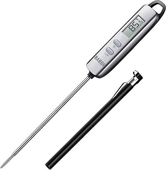 Amazon.com: Habor 022 Meat Thermometer, Instant Read Thermometer Digital Cooking Thermometer, Candy Thermometer with Super Long Probe for Kitchen BBQ Grill Smoker Meat Oil Milk Yogurt Temperature: Kitchen & Dining