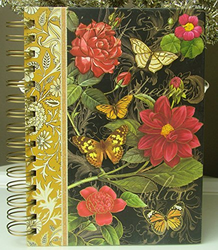 Inspire Dream Believe Punch Studio Hardcover Black Red Gold Spiral Notebook Journal 104 pages Butterflies & Red Dahlia