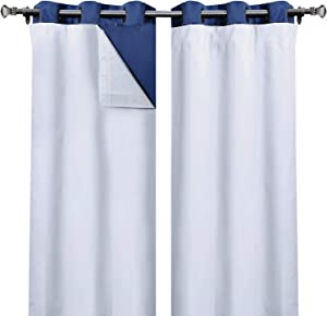 Rose Home Fashion 100% Blackout Curtain Liner Thermal Insulated White Liner, Black Out Liner, Room Darkening (Hook Included)-2 Panels, 47x88 White
