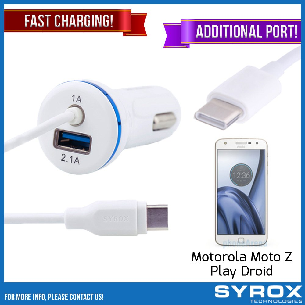 Syrox 20-Pack Type-C Car Charger & Port, Reversible 4 ft Fast Charging for Motorola Moto Z Play Droid, Samsung Galaxy Note 8, S8 Plus, LG V30, V20, G6, G5, Google Pixel, 6P, Nintendo Switch and All