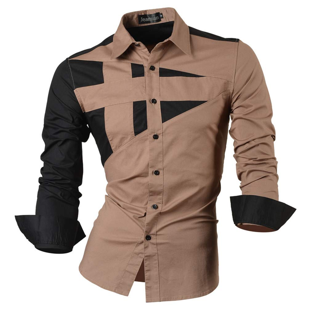 KXNLFD Spring Autumn Features Shirts Men Casual Jeans Shirt Long Sleeve Casual Slim Fit Male Shirts