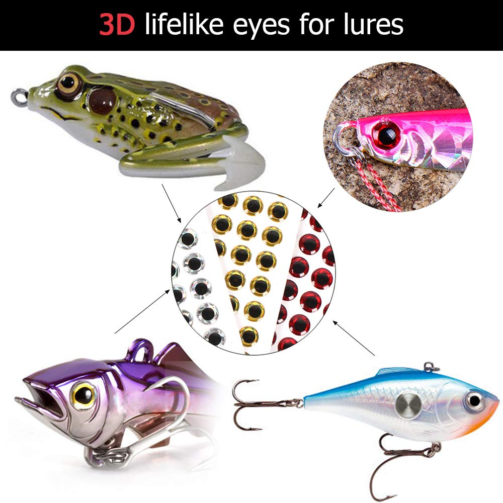 100pcs 3mm Lixada Fishing Lure Eyes 12mm 3D Epoxy Fishing Eyes Pupil Fishing Lure Eyes for Making Fishing Bait Fly Tying Streamers Lures Crafts