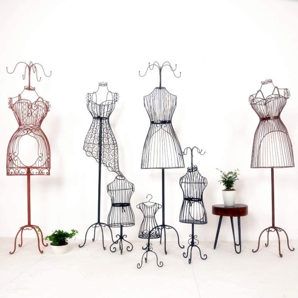 X-JIU Female Mannequin Torso Full Body Dress Form Steel Wire Frame Wedding Clothing Display Decorative Stand Stripe Design