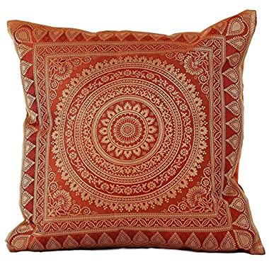 Exotic Oriental Pillow Cover, Set of 2 (Golden Orange)