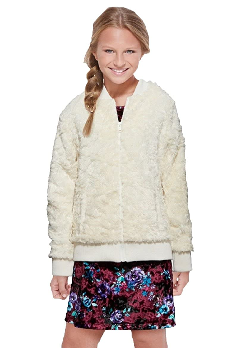 Zip Up Front Double Front Pockets Justice Girls Ivory Faux Fur Polar Bomber Jacket