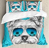Yorkie Duvet Cover Set King Size by Ambesonne, Yorkshire Terrier Portrait with Cool Mirror Sunglasses Hand Drawn Cute Animal Art, Decorative 3 Piece Bedding Set with 2 Pillow Shams, Blue White