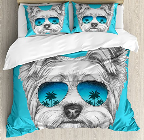 Yorkie Duvet Cover Set King Size by Ambesonne, Yorkshire Terrier Portrait with Cool Mirror Sunglasses Hand Drawn Cute Animal Art, Decorative 3 Piece Bedding Set with 2 Pillow Shams, Blue White by Ambesonne