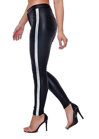 e5c04d9c7f787 Lily Lulu Woman's Jeans Wet Look Trousers Glitter Silver Side Stripe Faux  Leather Black: Amazon.co.uk: Clothing