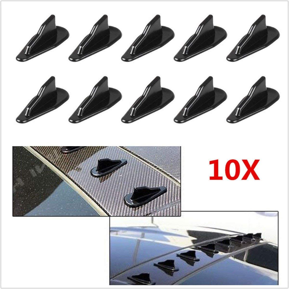 SUNWAN 10 Pcs Black Carbon Fiber Look Autos Off-Road Rear Roof Shark Fins Spoiler Wing Shark Fins Spoiler Wing