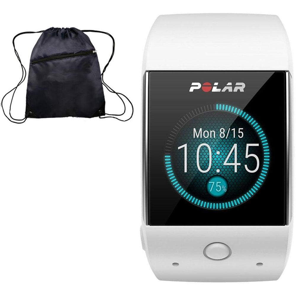 Polar M600 GPS Smart Watch with Heart Rate and Cinch Bag Fitness Kit - White