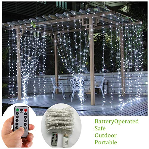 Battery Operated Curtain String Lights,300 LED Icicle Window Background Fairy Lights [Remote,8 Mode,Timer,9.8 ft ×9.8 ft, Dimmable,] Decoration Lights for Outdoor Wedding,Camping,RV,BBQ - Cool White -