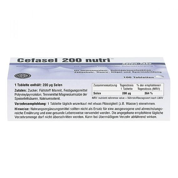 cefasel 200 NUTRI Pastillas de selenio,100 unidades: Amazon.es: Salud y cuidado personal