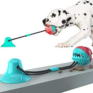 SHEROX Dog Chew Toy for Aggressive Chewers, Dog Puzzle Treat Food Dispensing Ball Toys, Dog Molar Ball, Rope Tug Toy with Bell for Puppies and Large Dogs