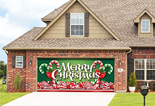 Victory Corps Outdoor Christmas Holiday Garage Door Banner Cover Mural Décoration 7'x16' - Christmas Candy Outdoor Christmas Holiday Garage Door Banner Décor Sign -