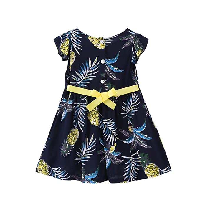 UK Toddler Baby Girls Flower Summer Outfits Set Bow Top Fruit Print Pant Sunsuit
