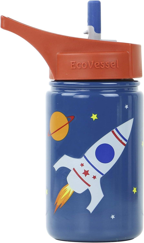 EcoVessel Scout niños Botella de Agua de Acero Inoxidable Deporte con Boquilla con Tapa y Pajita de Silicona–13onzas