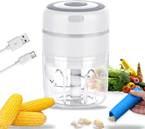 Electric Mini Garlic Chopper Wireless Portable Garlic Mincer Garlic Peeler Onion Grinder Masher Crusher, Food Processor Smash Garlic ,Fruits, Vegetables, Onions, Nuts, Pepper, Ginger & Salad 250ML