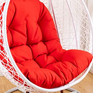 WSGJHB Hanging Egg Hammock Chair Cushion, Swing Seat Cushion (Chair not Included) Thick Nest Hanging Chair Back Pillow for Indoor Outdoor Patio Yard Garden Beach Office Red, 49x37inch