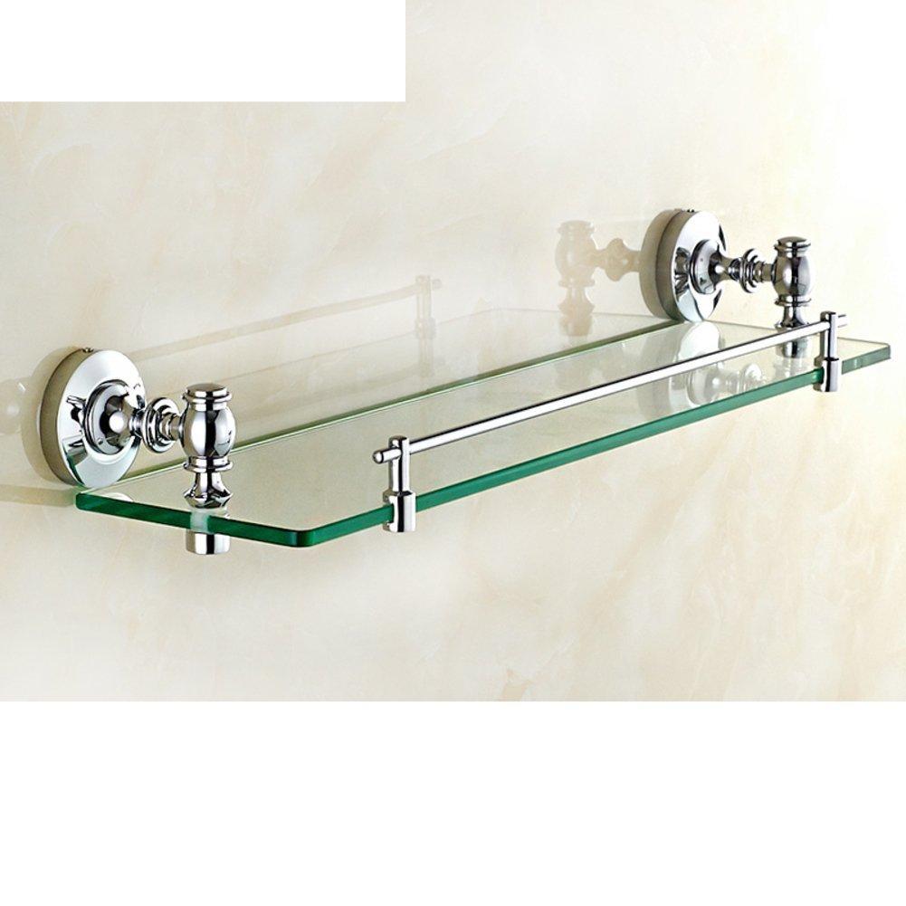 DIDIDD Shelf-Brass Bathroom Glass Shelf/Single Cosmetics Planes/Before the Bathroom Mirror with a Towel Bar-B