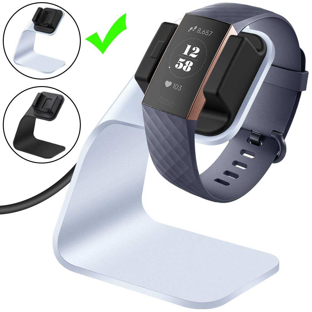CAVN Compatible Fitbit Charge 3 / Charge 3 SE Charger Dock, Replacement Charging Cable Cord Stand Cradle Base with 4.2 ft USB Cable Accessories Compatible Fitbit Charge 3 Smartwatch (Silver) SSC0152