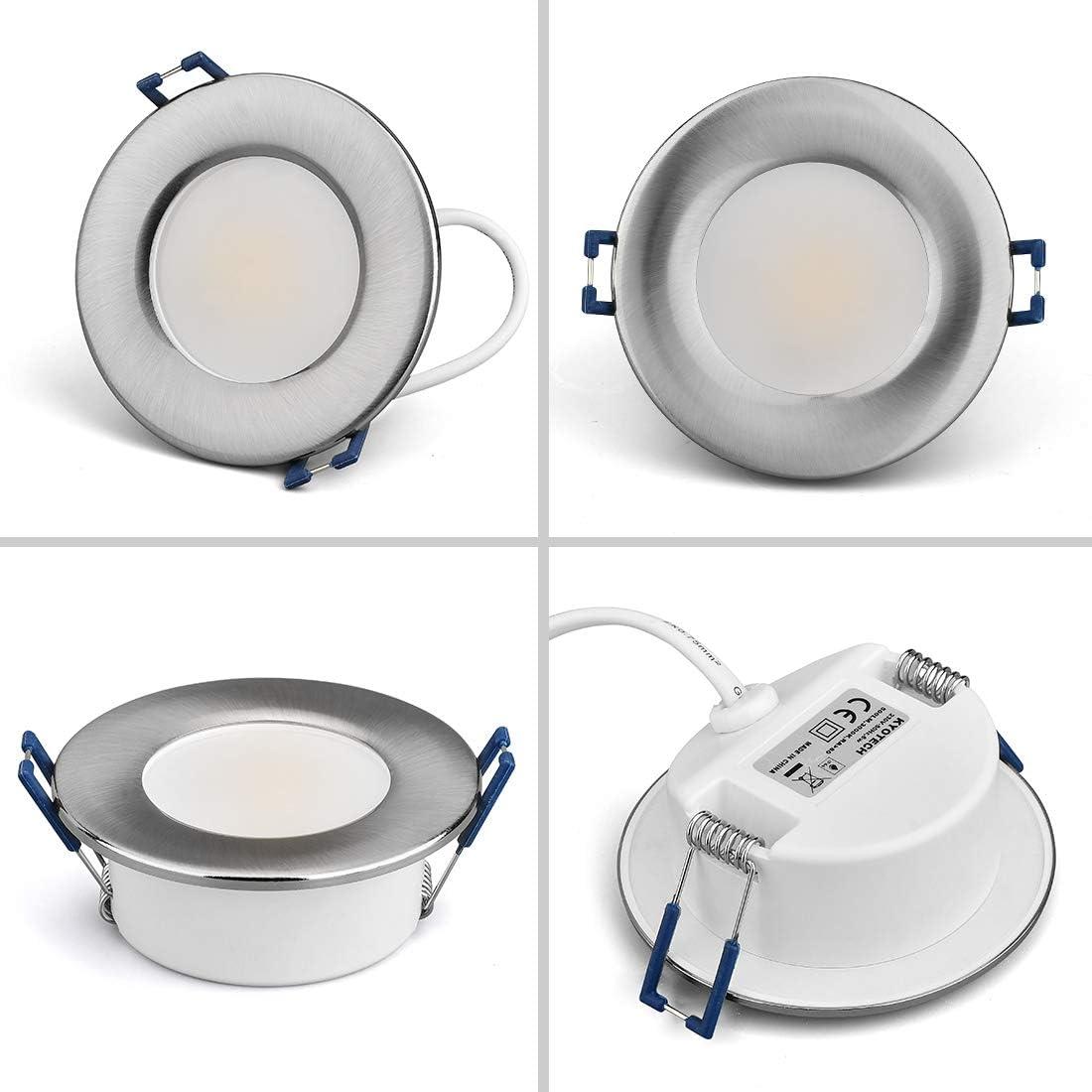 KYOTECH Foco Empotrable Led Techo,Set de 6,Blanco c/álido 3000K N/íquel cepillado, Ronda 6W 230V 500Lumen,downlight de luz,IP44 puede usarse en cuartos h/úmedos