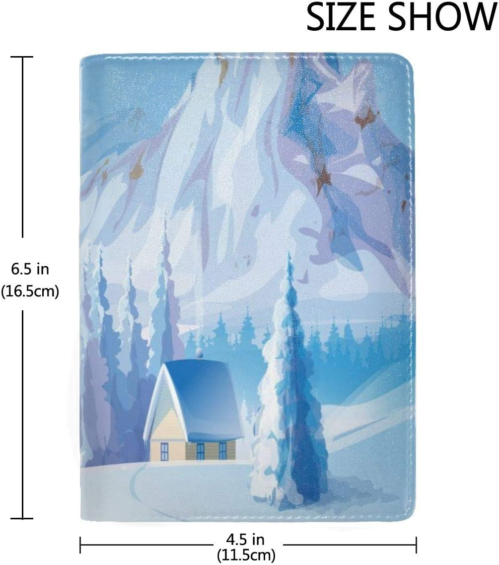 Winter Snow Scene Fashion Leather Passport Holder Cover Case Travel Wallet 6.5 In