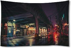 EGOTOU City Night Tokyo Japan Street Rail Bridge Lights - Wall Tapestry Home Decor Art Wall Hanging Tapestries 60x90 inch