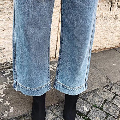 WanYang Azul Sueltos Jeans Vintage Claro Pantalones Mujer Relaxed Vaqueros Cintura Alta Straight Anchos rrxUPqwCp