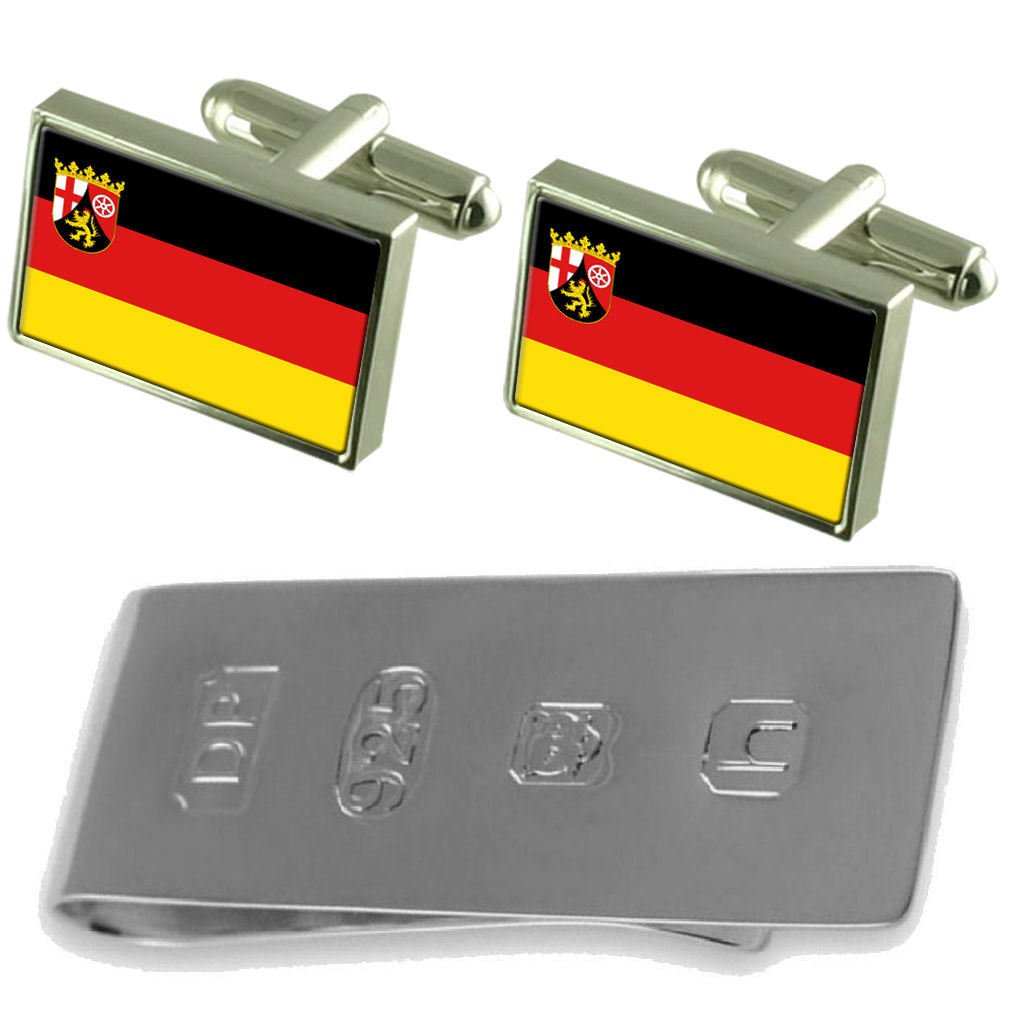 rhineland-palatinate状態とCivil Flag Cufflinks & James Bondお金クリップ   B077WXN92C