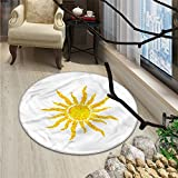 Sun Round Area Rug Artsy Grunge Star Drawing Circle and Stripes Abstract Center of Solar SystemOriental Floor and Carpets Marigold Pale Green