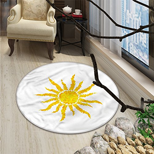 Sun Round Area Rug Artsy Grunge Star Drawing Circle and Stripes Abstract Center of Solar SystemOriental Floor and Carpets Marigold Pale Green by smallbeefly