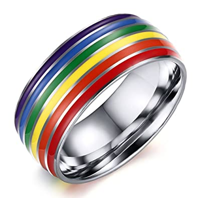 b1cce357480c5 Amazon.com: Gay Lesbian Rainbow Band Flag LGBT Jewelry Band Ring ...