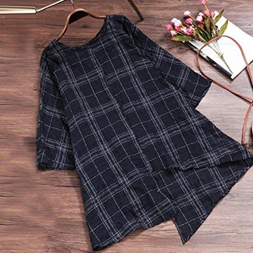 Cotton Femmes Noir Chemise Vintage Carreaux Lin Shirt Chemise Lache 4 Manche Bringbring Tops Imprim 3 T pqqtSU