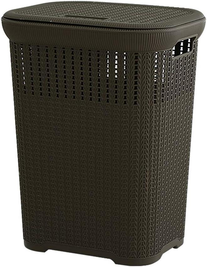 Portable Anti-Rat Laundry Basket Plastic Hollow Dirty Hamper Clothes Sundries Storage Basket, 423354cm (Color : Black)