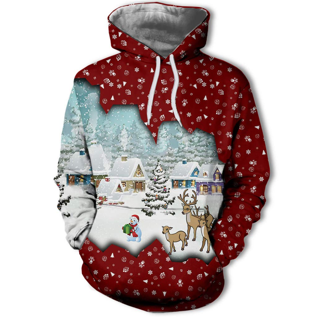 1KTon Men's Christmas Fun Ugly 3D Novelty Design Print Long Sleeve Christmas Sweatshirt Hoodie Top with Pocket by 1KTon