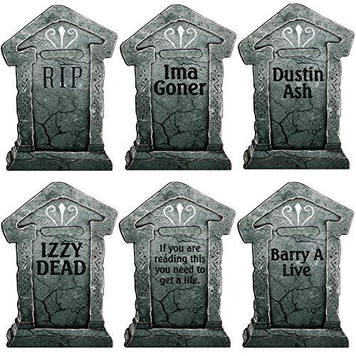 Plastic Tombstones Halloween (Sizonjoy Graveyard Lightweight Fake Tombstone Halloween Outdoor Yard Decoration - Pack of)