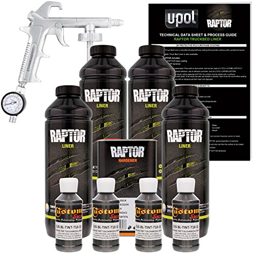 U-POL Raptor Charcoal Metallic Urethane Spray-On Truck Bed Liner Kit w/ FREE Custom Shop Spray Gun with Regulator, 4 Liters - Best Truck Bed Liner