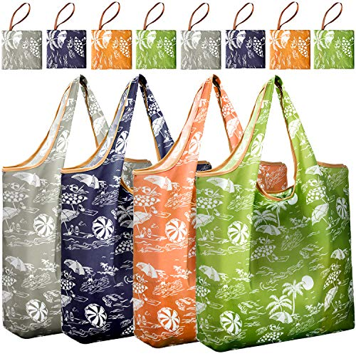 Reger Foldable Nylon Light Weight Compact Grocery Shopping Storage Bags Reusable & Machine Washable Fits in Pocket Eco Friendly