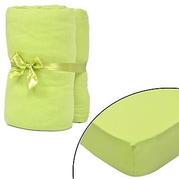Festnight Fundas de Algodón para Colchón Juego de 2 Color de Verde Manzana, 120x200-130x200 cm: Amazon.es: Electrónica