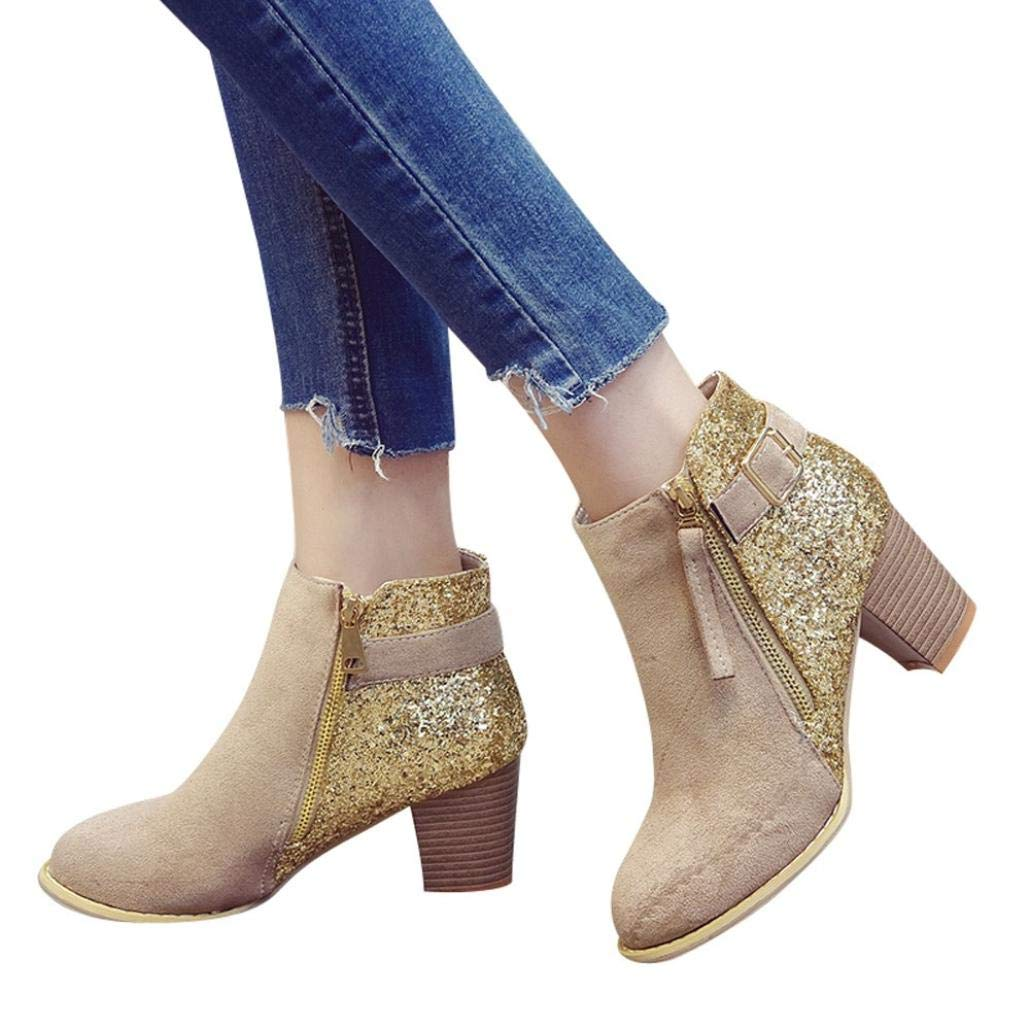 Shybuy Women's Fashion Charming Sequins Booties Casual Block Chunky Heel Faux Leather Ankle Boots (5.5, Khaki)