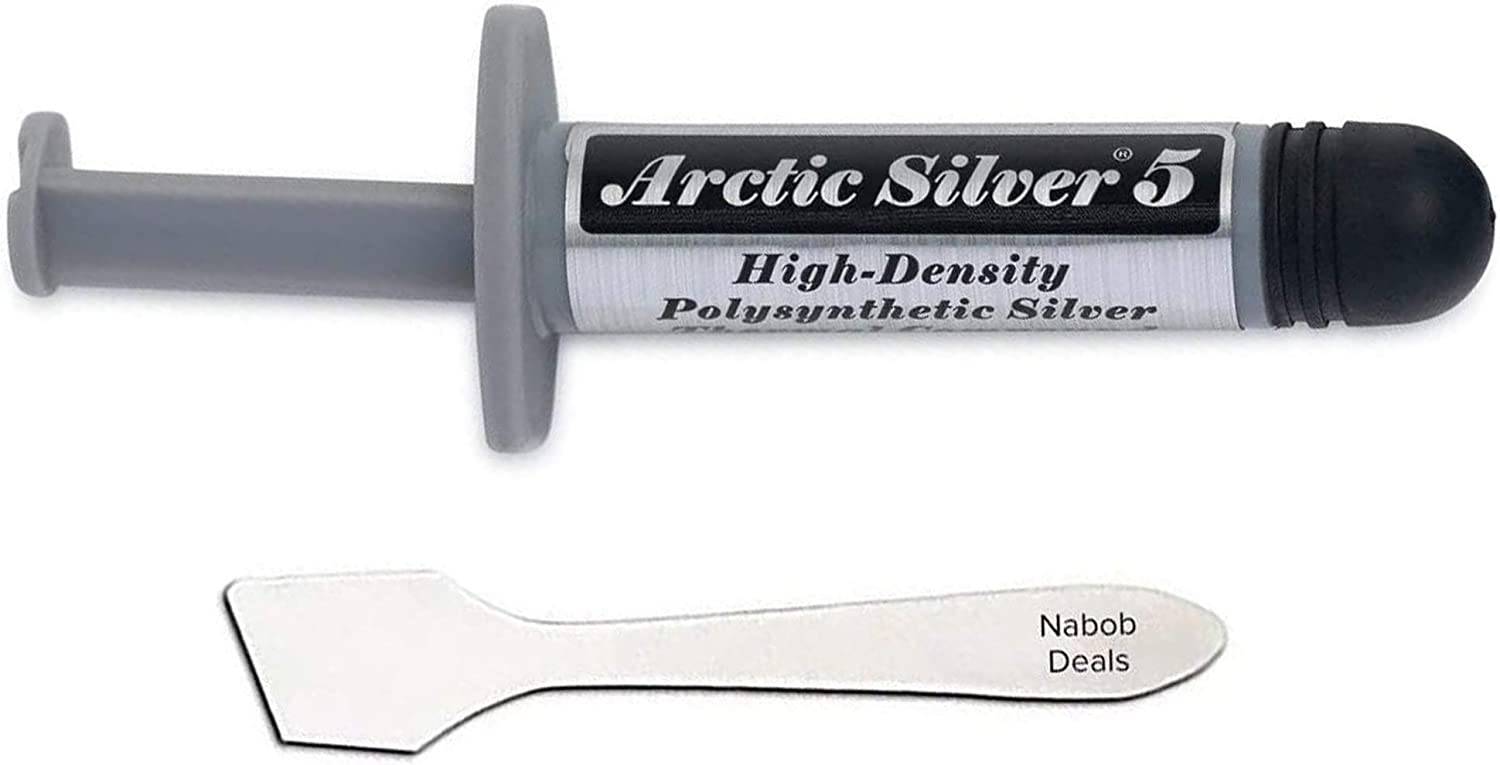 Nabob Deals Arctic Silver 5 Thermal Cooling Compound Paste 3.5g Heatsink Paste High-Density Polysynthetic Silver with Bonus Tool (Arctic Silver with Bonus Tool)