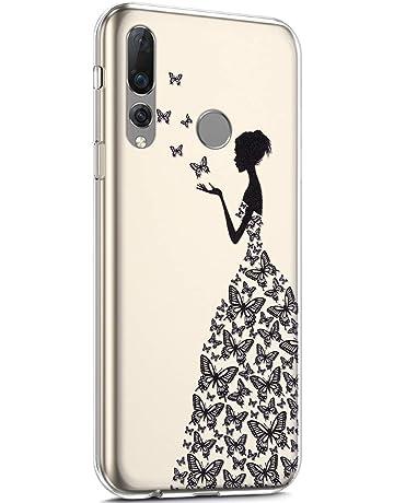 Surakey Compatible con Huawei Nova 4 Cover in Silicone Trasparente Morbida Case Ultra Sottile e Leggero Soft Touch Gomma Custodia con Disegni Cartoon Anti-Scratch Protettiva Bumper,Ragazza Elettrodomestici Elettrodomestici speciali
