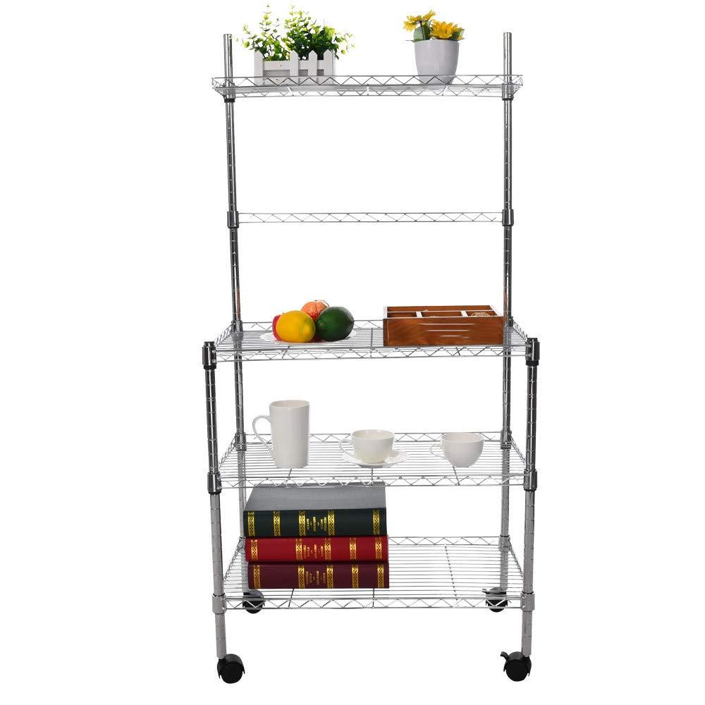 Malbaba 3-Layer Semi-Microwave Shelf Storage Rack With Four Wheels Kitchen Wire Rack Bread Rack With Spice Rack Organizer 60x35x120cm