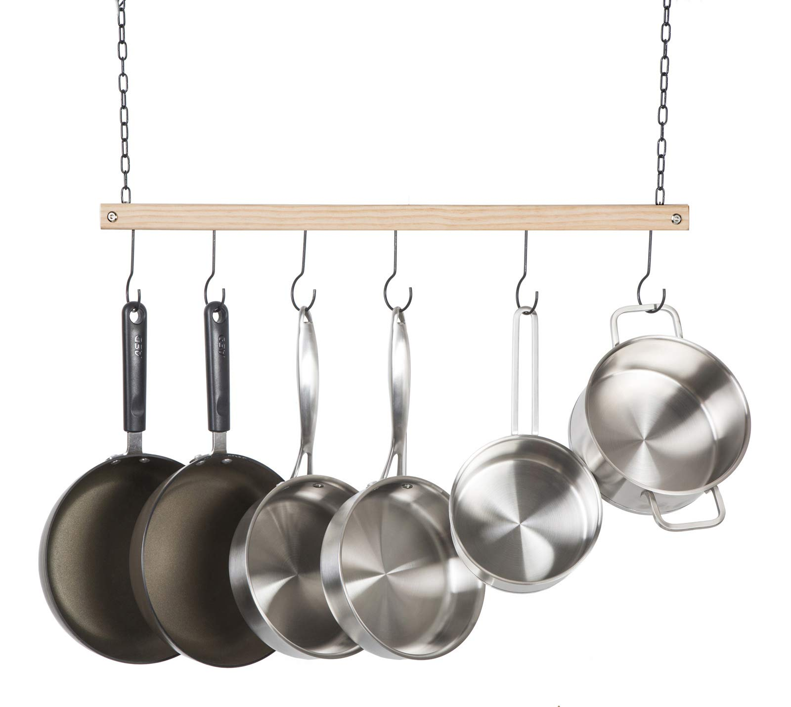 Soduku Pot and Pan Rack Organizer, Ceiling Mounted Single Wooden Cookware Hanger with 6 Hooks for Pot Pans Utensils