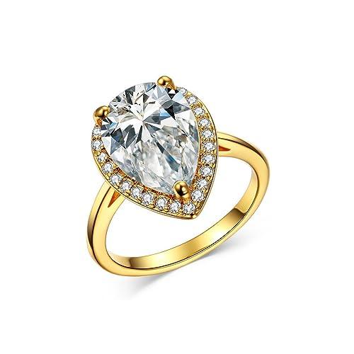 waterlucy Pera CZ 3 Carat bañados en oro 18 K anillos de boda, 2 colores