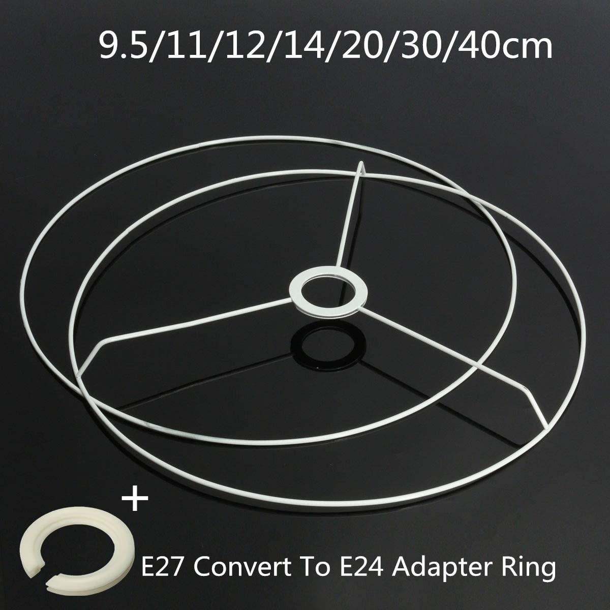 E27 to E14 Lampshade Lamp Fix Ring Adapter - Harlica Tools Circular Lampshade Frame Ring Light Shade DIY Set 11-40cm Diameter Body Color: 30cm