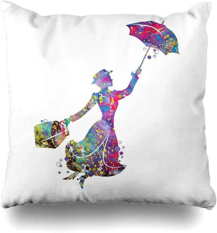 Mesllings Throw Pillow Cover Square 16x16 Inches Mary Poppins Decorative Pillow Case Home Decor Pillowcase