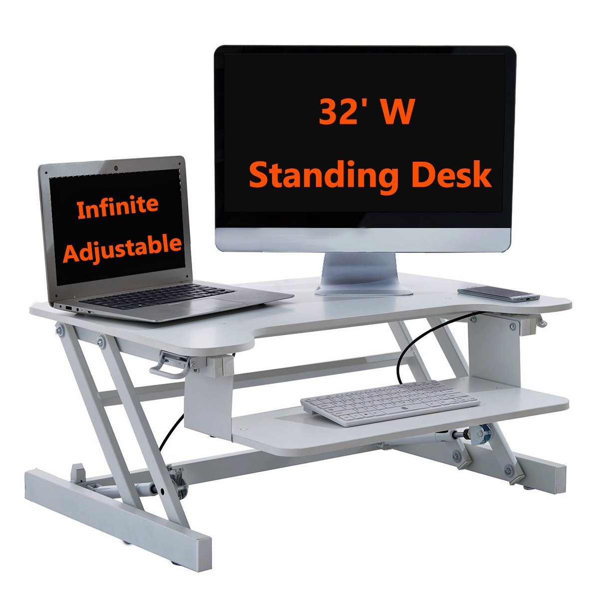 Height Adjustable Ergonomic Sit Stand 2-Tier Standing Desk Converter, Black/White (White)
